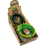 Jamaican Leaf Design Round Poly Resin Ashtray Display