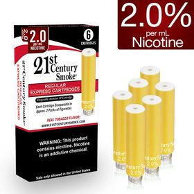 2.0% Nicotine - 21st Century Smoke Electronic Cigarette Regular Cartridges 6ct