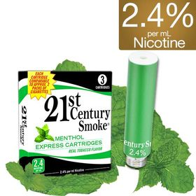 2.4% Nicotine - 21st Century Smoke Electronic Cigarette Menthol Cartridges 3 Pack