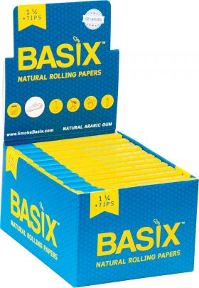 BASIX Natural Rolling Papers 1 1/4 + Tips Wholesale